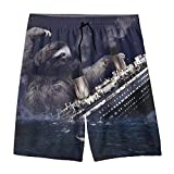 YOIGNG The Sloth Sank The Titanic Teens Swim Trunks Beach Shorts Surfing Board Quick Dry Bathing Suit White