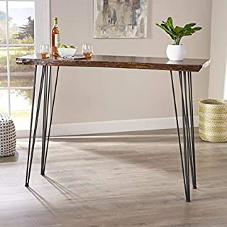 Christopher Knight Home Aneissa Industrial Faux Live Edge Rectangular Bar Table, Natural, Black