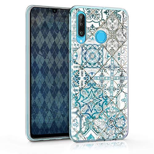 kwmobile Case kompatibel mit Huawei P30 Lite - Hülle Handy - Handyhülle Marokkanische Fliesen Uni Blau Grau Weiß
