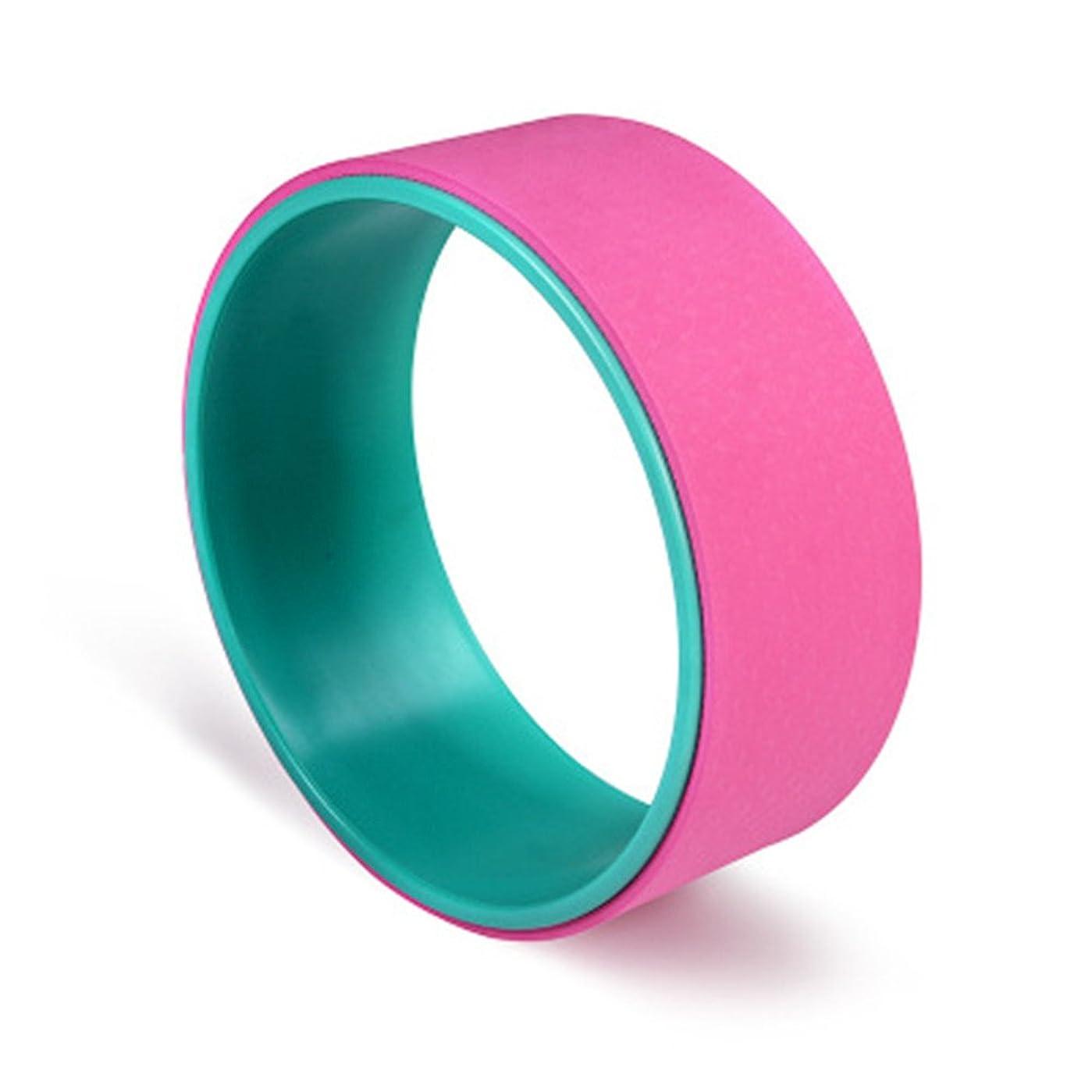 演じるバレル力強いヨガホイールとヨガプロップホイールパーツ3色のストレッチ運動アクセサリー (Color : ピンク)