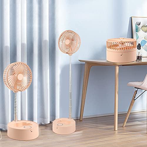 JUBANGLIAN Ventilador de escritorio portátil plegable con luz nocturna 4 velocidades retráctil ventilador de circulación de aire con batería de 7200 mAh para camping al aire libre Picnic