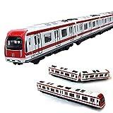 VANTIYAUS Train Model, 4pcs Toy Car Set Alloy City Rail Subway Train Model ,1/64 Scale Alloy Subway/ Car Model ToysPlay, Red White