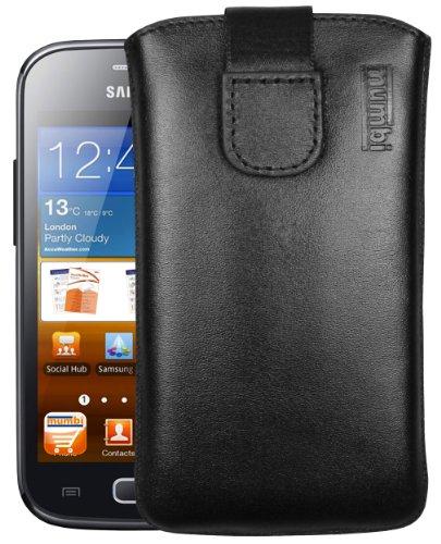 mumbi Echt Ledertasche kompatibel mit Samsung Galaxy Ace 2 Hülle Leder Tasche Case Wallet, schwarz