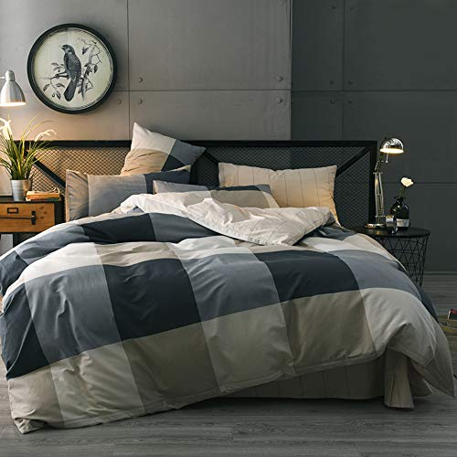 Cotton Grid Plaid Duvet Cover Set Queen Modern Reversible Checkered Bedding Set Full Hotel Quality 3 Piece Duvet Comforter Cover Set Luxury Zipper Closure Bedding Collection