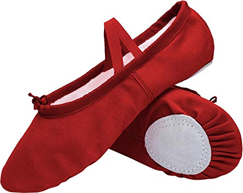 L-RUN Womens Ballet Slipper Classical Flat Canvas Ballet Shoes Red 9.5 M US