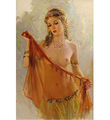 Sin marco Pintura al óleo del retrato pintada a mano, pintura atractiva de la mujer, cuadros desnudos del arte, pinturas de la decoración de la pared del dormitorio 40x50cm