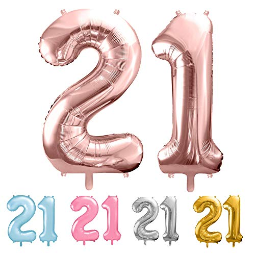 balloonfantasy Partyboutique Balloon Fantasy Zahlen Luftballon Set XXL / Luftballons Geburtstag / Ballon Zahlen (Roségold, 21)