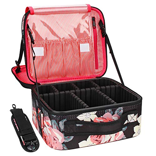 Relavel Travel Makeup Bag 2 Layer Heighten Makeup Train Case Cosmetic Storage and Organizer Box Portable Makeup Carrying Case with Shoulder Strap and Adjustable Dividers (Peony Pattern)