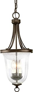 Progress P3753-20 Three Light Foyer, Antique Bronze Finish with Seeded Glass