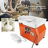 350W Pottery Wheel Macchina per Rotella di Ceramica, Strumento per Argilla Artigianale con Pedale e Bacino, Kit di Utensili Modellatura Ceramica per DIY, in acciaio e lega di alluminio, arancione