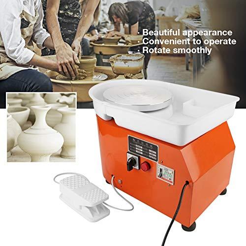 Qinlorgo Töpferscheibe, Keramikformmaschine 350W Orange Töpferscheibe Maschine Keramikformwerkzeug Waschbares Becken mit Fußschalter