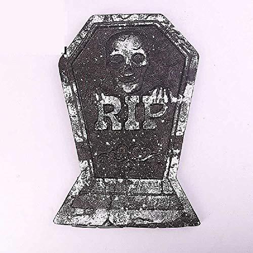 ZHANGNUO Halloween Gartendekoration Skelett Grab Grabstein Mit Buchstaben Bad Omen Spukhaus Dekor Erschrecken Kinder L./ Fluoreszenzgelb