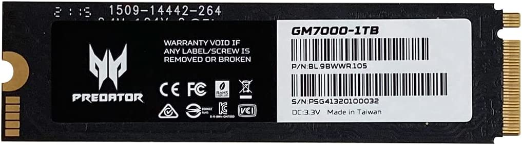 Acer Predator GM7000 1TB Gaming SSD PCIe NVMe Gen4 M.2 2280 3D NAND Internal Solid State Drive with Cooling Pad Up to 7,400 MB/s (GM7000-1TB)
