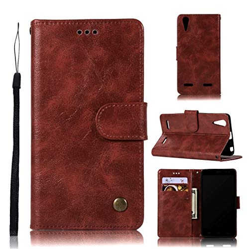 Wblue Mobile Phone Cases for Lenovo A6000 Retro Copper Button Crazy Horse Horizontal Flip PU Leather Case with Holder & Card Slots & Wallet & Lanyard(Wine Red) (Color : Wine Red)