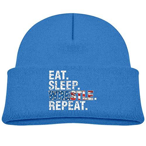NR Eat Sleep Wrestle Bonnet tricoté pour bébé garçon et fille