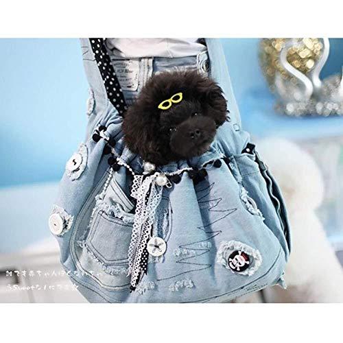 LCSD Hundebett Pet Sling Carrier, Cotton One-Shoulder Pet Bag Tragbare One-Shoulder-Brusttasche for Hunde Und Katzen Out Travel Crossbody Bag Pet Denim Rucksack