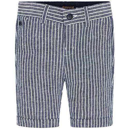 Mayoral Jungen Shorts festlich Anzug-Hose kurz Baumwolle-Leinen, Größe:128, Farbe:Marine-Streifen