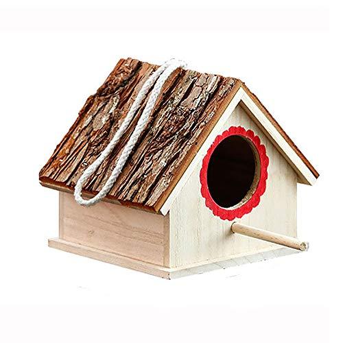 GFDE Pajarera Nidal la casa del pájaro de la Novedad del pájaro Nidal Decoraciones del jardín al Aire Libre de Madera Caja de Casa for Bird Adorno de jardín (Color : Natural, Size : 17.5x16x15cm)