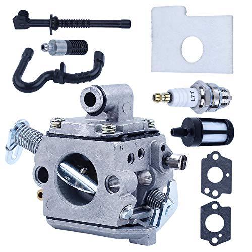 Adefol Carburador Tubo de Manguera de Aceite de Filtro Kit para Stihl MS180 MS170 018 017 con Bujía, Filtro de Combustible, Filtro de Aire, Junta de carburador para ZAMA Carb
