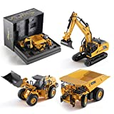 Top Race Metal Diecast Construction Toys Set of 3, Loader, Excavator, Dump Truck Pack of 3 Metal Realistic Construction Trucks Models 1:60 Scale