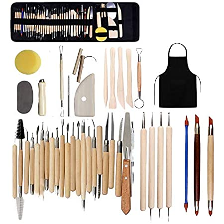 43 Pièces Outil Modelage Clay Sculpting Tools, Outil en Céramique Set Outils de Sculpture Outils Sculpture Modelage pour Sculpture Argile Peinture Roche Pâte à Modeler Gaufrage Nail Art DIY