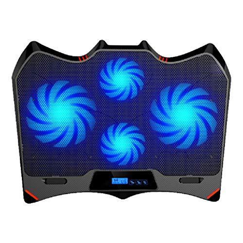 Kiki Notebook Cooler Batman Shape Laptop Cooler 4 Ventilateurs de Calme et écran LCD |1400rpm Fort Vent conçu for Les Joueurs et Le Bureau Refroidisseur pour Ordinateur Portable (Color : Blue A)