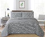 Angel Bedding 3-Piece Washed Quilt Bedspread Coverlet Set (Dark Blue,Blue Grey, King(104x90))