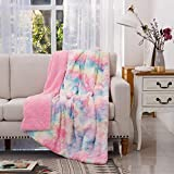 COCOPLAY W Faux Fur Throw Blanket, Super Soft Fuzzy Lightweight Luxurious Cozy Warm Fluffy Plush Sherpa Rose Pink Rainbow Microfiber Blanket for Bed Couch Living Room (Pink Rose, Throw(50'x65'))