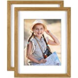 Yome 2 Pack 11x14 Natural Picture Frames with Mats, Photo Frames Set for Wall Display Pictures, Perpetuate Your Memories, Solid Wood and Plexiglass