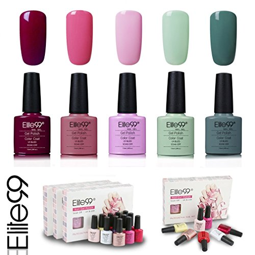 Elite99 Esmalte de Uñas Semipermanente Uñas de Gel UV LED Kit de Manicura 5pcs en Caja Pintauñas Soak off 7.3ml - Kit 017