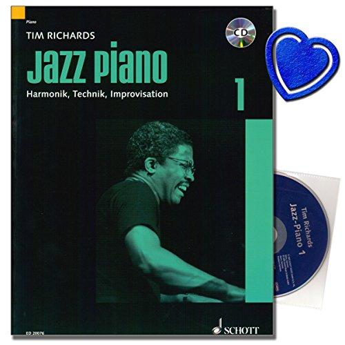Jazz Piano 1 - Das Standardwerk von Tim Richards - Grundlagen von Jazz und Blues Piano , Harmonien, Technik und Improvisation - Klavier Noten mit CD und bunter herzförmiger Notenklammer