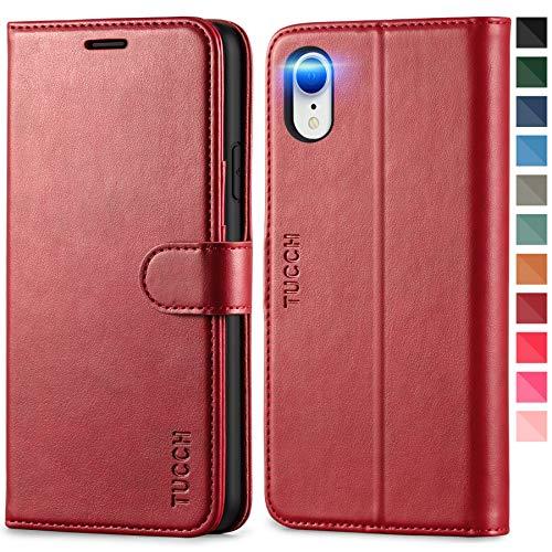 TUCCH Hülle für iPhone XR, Klappbare Handyhülle, RFID Schutzhülle [Schützt vor Stößen] [Magnetverschluss] [Kartenfach] [Verdicktes TPU] [Premium Leder] Lederhülle Hülle Cover für iPhone XR (6,1), Rot