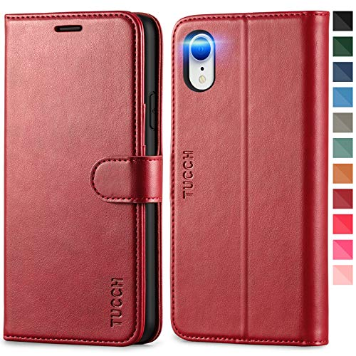 TUCCH iPhone XR Case, iPhone XR Wallet Case, PU Leather Flip Folio Cover with RFID Blocking Card Slot Magnetic, Stand TPU Shockproof Inner Case Wireless Charging Compatible with iPhone XR, Dark Red