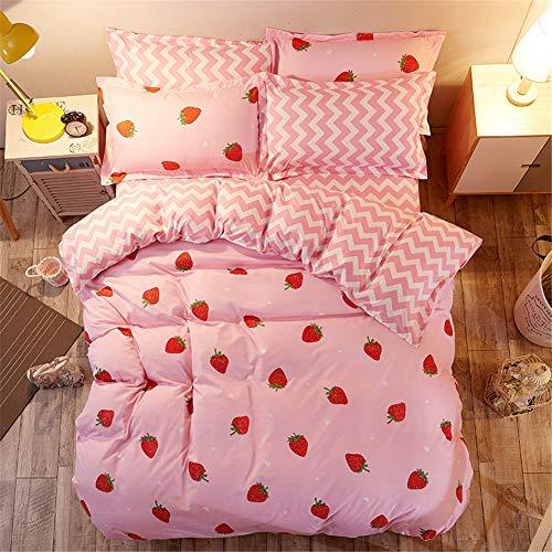 Morbuy Bettwäsche Bettbezug Set, 3 Teilig Bettgarnitur Bettwäsche - Set Gemütlich 100% Mikrofaser mit Reißverschluss 1 Bettbezug + 2 Kissenbezug (135x200CM, Stiftung Erdbeere)