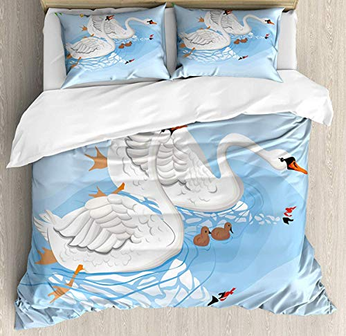 JamirtyRoy1 Swans Duvet Cover Set Single Size, Gracious Animals in River Reflections Floral Art, Decorative 3 Piece Bedding Set with 2 Pillow Shams, Baby Blue Lime Green Persian Orange Pale Yellow