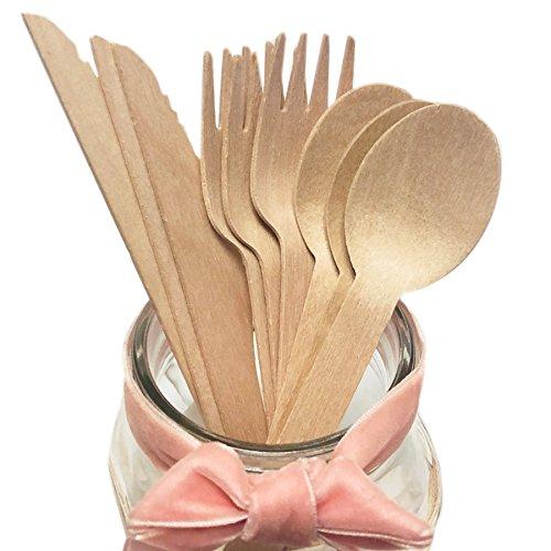 Cubiertos Desechables de Madera Natural, Alternativa perfecta para plástico, 50 cuchillos, 100 tenedores, 50 cucharas, 160 mm, biodegradables (utensilios ecológicos)