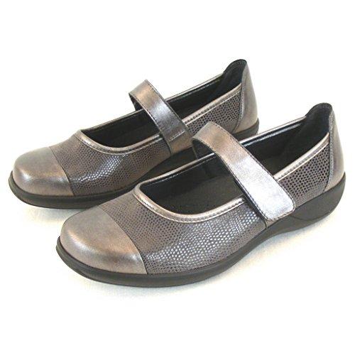Stuppy Damen Schuhe grau metallic Mary Jane Spangenschuhe Leder Stretch 10957, Größe:37 EU