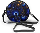 BAODANLA Bolso redondo mujer Peacock Feahter Women Soft Leather Round Shoulder Bag Zipper Circle Purses Sling Bag