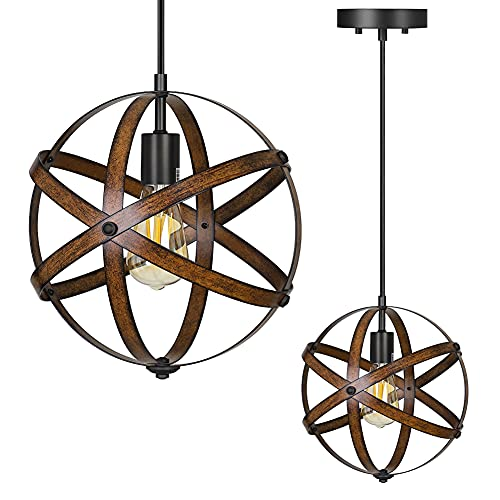 DEWENWILS Industrial Metal Pendant Hanging Light, Wood Grain Metal Spherical Cage Globe Vintage Ceiling Chandelier Foyer Light for Kitchen Island, Bedroom, Dining Hall Corridor Office, ETL Listed