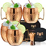 [Gift Set] 100% Pure Copper Moscow mule mugs, Set Of 4 copper cups for...