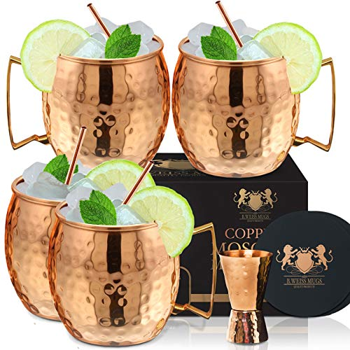 [Gift Set] 100% Pure Copper Moscow mule mugs, Set Of 4 copper cups for drinking Each Mug is HANDCRAFTED- Food Safe Pure Solid Copper Cups gift set (Set of 4)