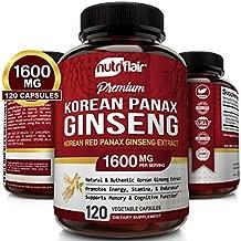NutriFlair Korean Red Panax Ginseng 1600mg - 120 Vegan Capsules - High Strength Ginseng Root Ginsenosides Extract Powder Supplement - Energy, Focus, Libido, Performance Pills for Women & Men, Non-GMO