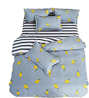 4pcs Fruit Print Bedding Sheet Set One Duvet Cover Without Comforter One Flat Sheet Two Pillow Cases Twin Full Queen Size (Twin, Lemon, Blue)