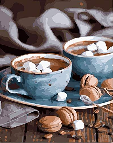 XKLHXFY Pintar por Numeros Adultos NiñosHora de cafeDibujos para Pintar con Pinturas y Pinceles 40 x 50 cm Principiantes Fácil sobre Lienzo con Números Sin Marco