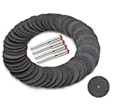 Drilax 50 Pcs Reinforced Fiberglass 1 1/4 inch Cut Off Wheels Abrasive Cutting Tool Disc with 4 Mandrels Included Rotary Discs Compatible With Dremel 426