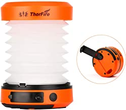 ThorFire LED Camping Lantern Lights Hand Crank USB Rechargeable Lanterns Collapsible Mini..