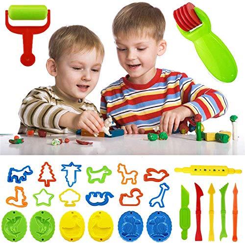 ZJXAM Ton- Und Teigwerkzeug-kit, Lustiges Kinderspiel-werkzeugset Teigform-spielzeugschneider Modellieren Bastelgeschenk, Teigwalzen Formenschneider Für Kinder Ab 3 Jahren (A)