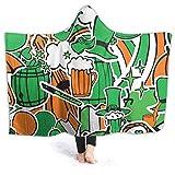 KENDIA Manta con Capucha para Hombre del día de Happy St Patrick, Sudadera con Capucha de Franela súper Suave para Usar (50 * 40 Pulgadas)