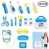Queta Kit Doctor Toy Doctor Kit de niños 18 Piezas Maletín de Doctor Medico Doctor Juego de rol Juguete para niños pequeños 3+ años (Azul)