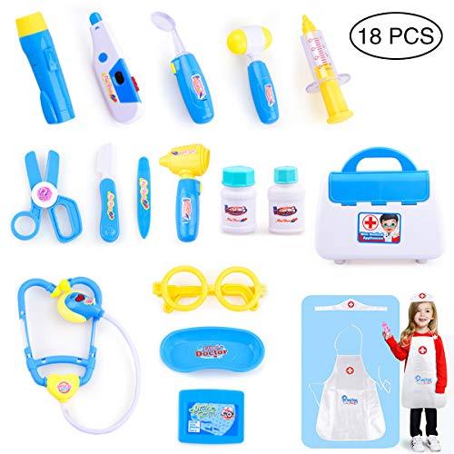 Queta Kit Medico Giocattolo Dottore Bambini Kit 18 Pezzi Valigetta del Medico,Infermiere Medico Gioco Giochi di Ruolo Giocattolo per Bambino Toddlers 3+ Anni (Blu)